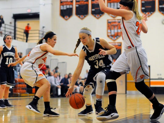 Marysville Vikings' Gabby Fogarty tries to keep possession
