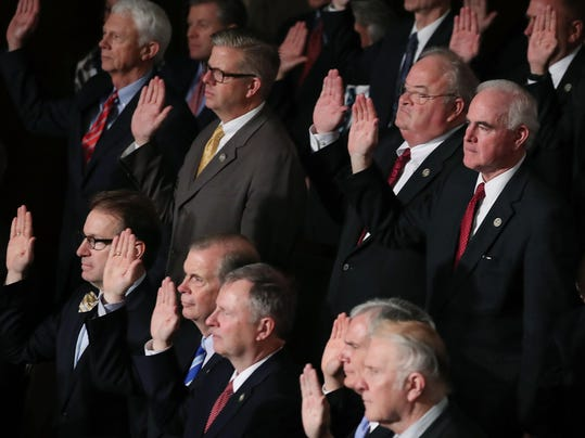 Paul Ryan Swears In Members Of The 115th Congress