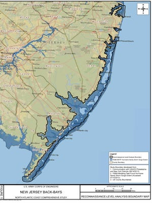 The bold line marks the boundaries of a study focusing on flooding risk in New Jersey's back bays.