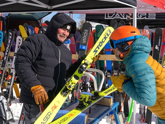 Eastern Winter Sports Reps Association held its on-snow demo at Stratton Mountain where shop employees tested out new products for next season in fresh powder snow.