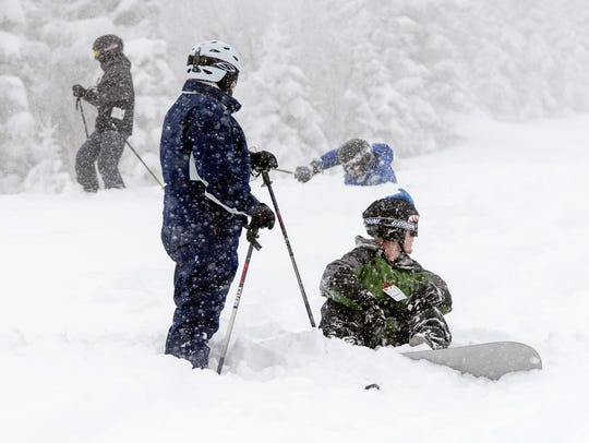 Record snow at Stratton gave skiers and riders plenty of powder to try out.