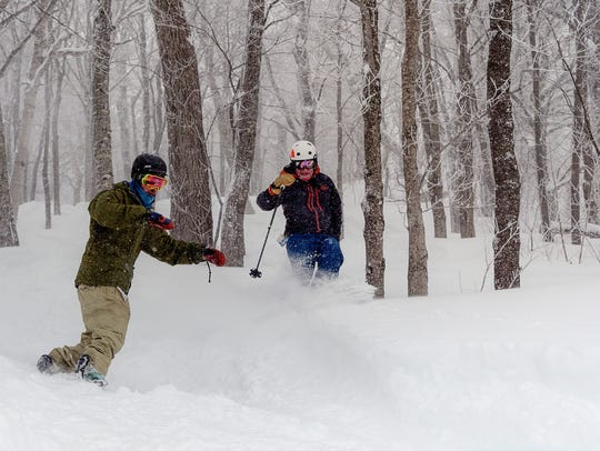 Skiing and riding in the trees was possible due to the plentiful powder at Stratton from recent storms.