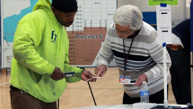 An election worker helps a voter with his application during the 2018 midterm elections on Tuesday, Nov. 6, 2018 in Holland, Mich. In Michigan, election laws prevent you from being required to disclose who you vote for.