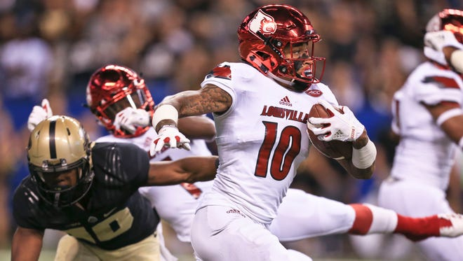 Louisville's Jaire Alexander injured his right leg in the season opener win over the Boilers 35-28 at Lucas Oil Field Sept. 2 in Indianapolis.