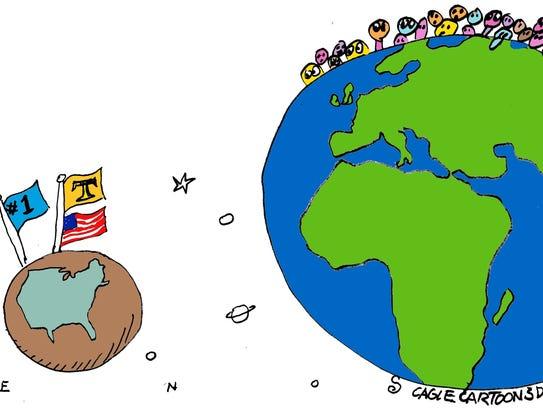 Randall Enos, Cagle Cartoons, drew this editorial cartoon.