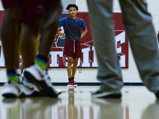 Westside High School guard Odarius Cade waits for teammates to come toward him on offense during a practice at the school in Anderson on Monday. He may be the shortest on the team, but his is one of the fastest and leading rebounder.