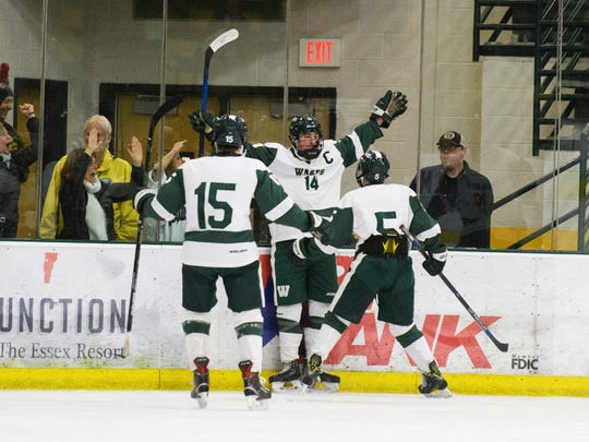 Woodstock celebrates a goal during the Vermont state