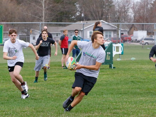 D.C. Everest rugby team practices drills Wednesday,