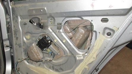 CBP officers at the Bridge of the Americas in El Paso seized 46 pounds of marijuana located in the side panels and doors of a vehicle.