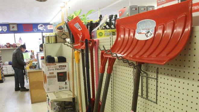 Snow shovels on display at Palmer Brothers Hardware in Southeast.