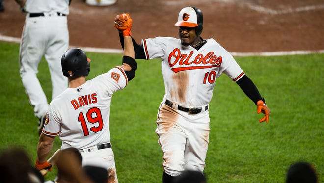 Baltimore Orioles center fielder Adam Jones and first baseman Chris Davis got stuck in an elevator following Friday's game in Toronto.