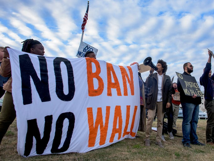 The group Birthplace of Justice holds a No Ban No Wall
