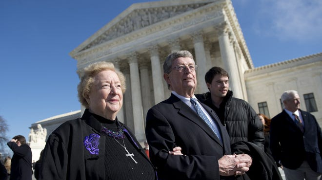 Eleanor McCullen, who challenged Massachusetts' 35-foot buffer zone around abortion clinics, stands outside the Supreme Court building on Jan. 15.