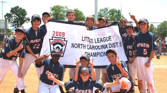 North Asheville Little League's only previous state tournament qualifier was its 2009 District 5 championship team. Front row: Correy Williams, Hawkins Maag, Ricky Thrash and Alexander Paulk. Back row: Neal Hutchins, Miles Moore, Myles Grady, Larry Joe Lardieri, Jake Reed, David Head, Kelton Pace, Ethan Lifchez and Sam Weidie.