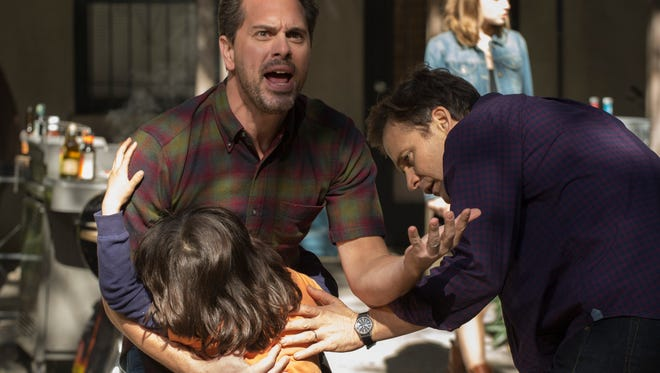 Gary (Thomas Sadoski, left) and Hector (Peter Sarsgaard) react to a child being slapped in NBC's 'The Slap.'