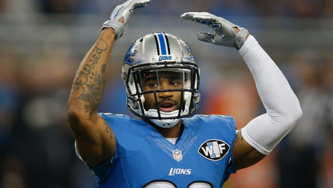 Darius Slay #23 of the Detroit Lions tries to pump the crowd up during the game against the Philadelphia Eagles at Ford Field on November 26, 2015 in Detroit, Michigan.