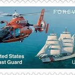 U.S. Postal Service dedicated a forever stamp in honor of the U.S. Coast Guard's 225th anniversary.( C ) 2015 USPS
