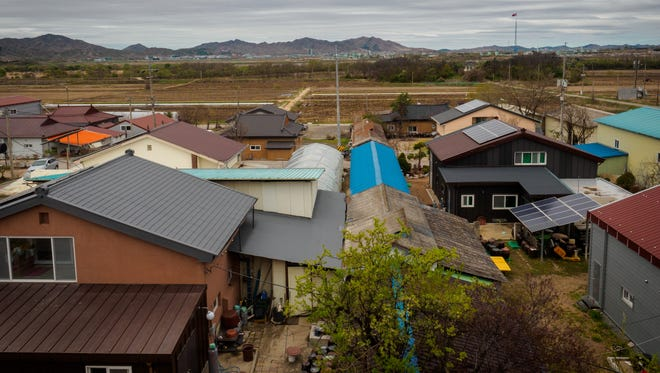 A view over Taesung Village, the only inhabited village on the South Korean side of the Demilitarized Zone that divides the Korean Peninsula.