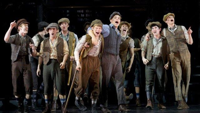 """The cast of """"Newsies"""" at the Paper Mill Playhouse, which opened on Broadway in 2012."""