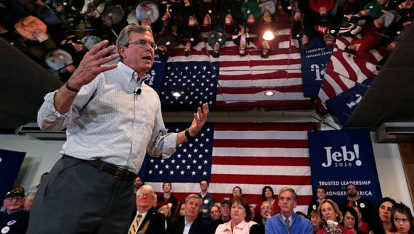 Jeb Bush addresses a gathering during a campaign stop