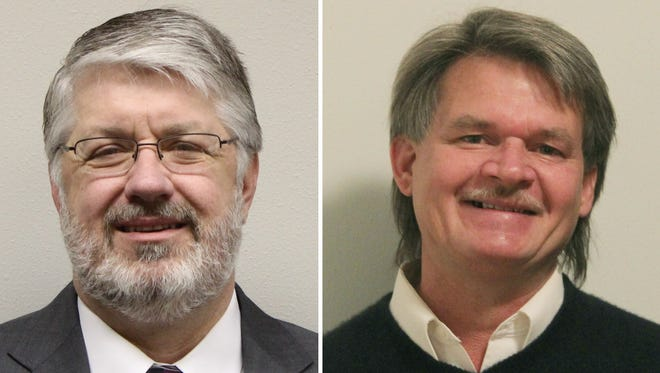 Mike Wiza, left, and Jerry Moore have advanced to April's mayoral election.