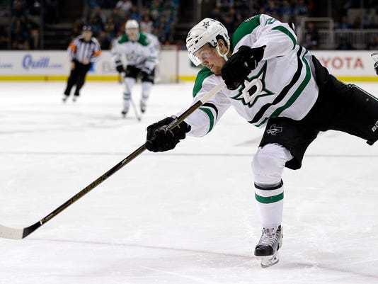 Dallas Stars' Brett Ritchie shoots against the San Jose Sharks during the first period of an NHL hockey game Sunday, March 12, 2017, in San Jose, Calif. (AP Photo/Ben Margot)