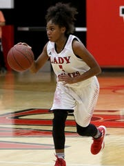 Wichita Falls High School's D'Renea Singleton dribbles