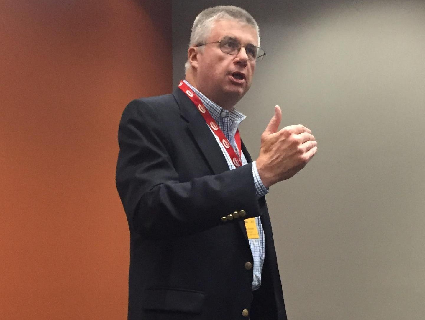 Greenville County Schools Superintendent Burke Royster makes a point during the South Carolina Athletic Coaches Association All-Sports Clinic Tuesday at the TD Convention Center.