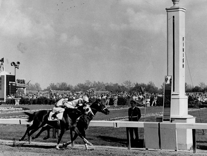 One of the closest finishes in Kentucky Derby history was when Tomy Lee, No. 8, beat Sword Dancer in a driving run to the finish line in 1959. May 2, 1959