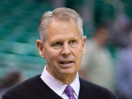 Boston Celtics President of Basketball Operations Danny Ainge looks on prior to the game against the Utah Jazz at EnergySolutions Arena.