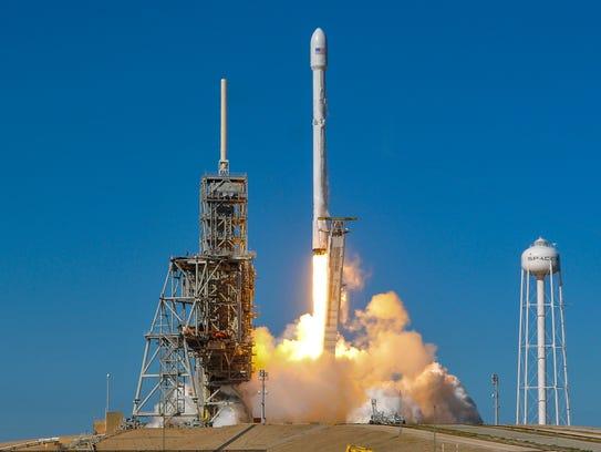 A SpaceX Falcon 9 rocket in Playalinda Beach, Fla.,