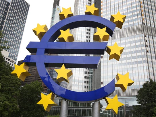 The logo of the Euro currency is pictured in front