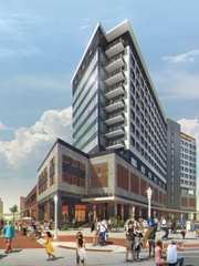Artists rendering of the Luminary Hotel in downtown Fort Myers. The project suffered a setback this week when officials learned a restriction in the property deed bars businesses from locating on the site.