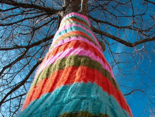 Yarn bombing is the act of covering something unexpected in knitting. Why not knit a sweater for a tree this season?