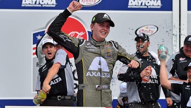 Williams Byron celebrates his second career Xfinity win.