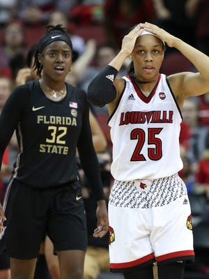 U of L's AsiaDurr (25) was in disbelief after a missed opportunity during the closing seconds of their one point loss to FSU during their game at the KFC Yum! Center.  Jan. 21, 2017