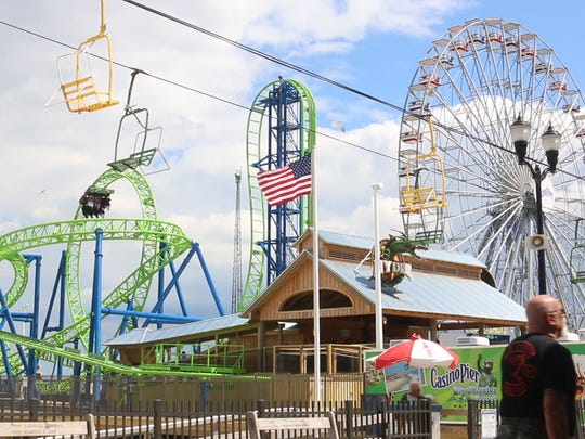 Casino Pier is shown with the new roller coaster Hydrus and a new ferris wheel. Governor Chris Christie walks the boardwalk in Seaside Heights to kick off Memorial Day weekend.