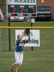 Waynesboro's Katie Wise catches a fly ball during a