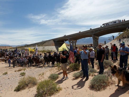 This April 12, 2014, file photo shows the Bundy family