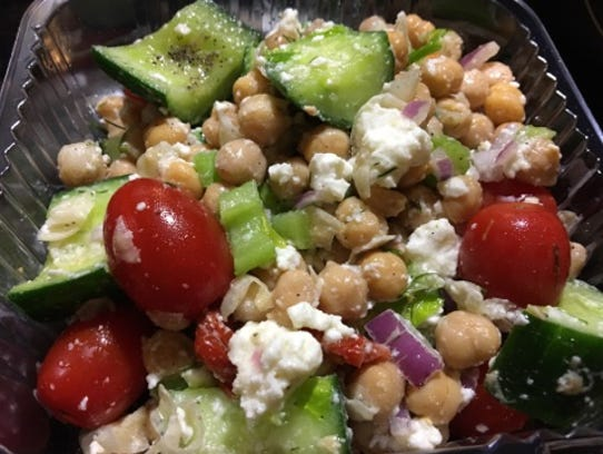 S&S Takeout's chickpea and cucumber salad had large