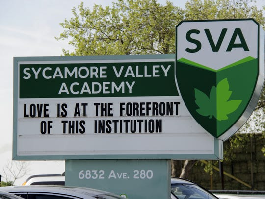 Sycamore Valley Academy sign.