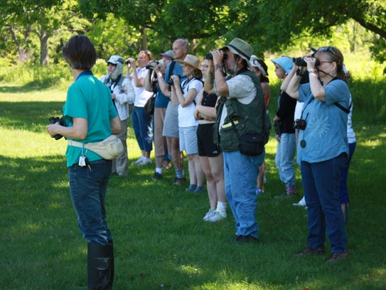 Birders on a guided walk at the New Jersey Botanical