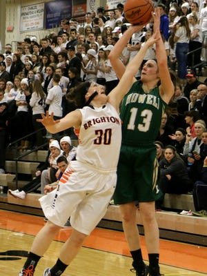 Howell's Rachel Nelson, right, scored a game-high 22 points for the Highlanders in Tuesday's 53-42 win over Pinckney.