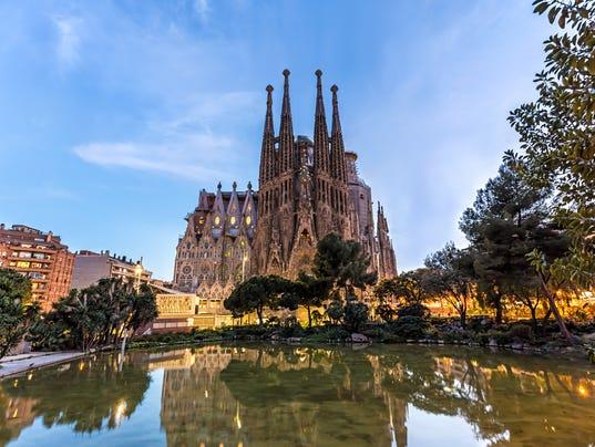 Sagrada Familia in Barcelona at sunset