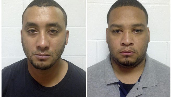 FILE - This combination of undated file booking photos provided by the Louisiana State Police shows Marksville City Marshals Norris Greenhouse Jr., left, and Derrick Stafford. The two deputy city marshals have been charged with second-degree murder and attempted second-degree murder over the November 2015 shooting that killed Jeremy Mardis and critically wounded his father, Christopher Few, after a car chase. Stafford's trial is scheduled to begin Monday, March 20, in Marksville after a weeklong process of selecting 12 jurors and two alternates to hear the case.