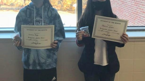 Bridgewater Middle School announced the students of the month for October are Cornelius Bates, Kayla Varnum, Caroline Bligh and Jessica Huynh. Pictured are Bligh and Huynh.