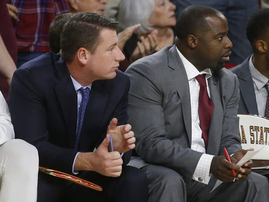 LSU coordinator of basketball operations Brian Merritt (left) during his time as an assistant coach with Arizona State.
