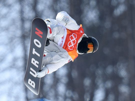 Shaun White (USA) competes in the halfpipe final event during the Pyeongchang 2018 Olympic Winter Games at Phoenix Snow Park, Feb. 13, 2018.