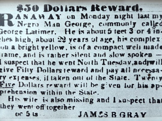 An advertisement taken out by a slave owner regarding