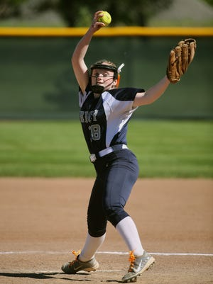 Mercy pitcher Riley Maher delivers a pitch against Williamsville East last year.